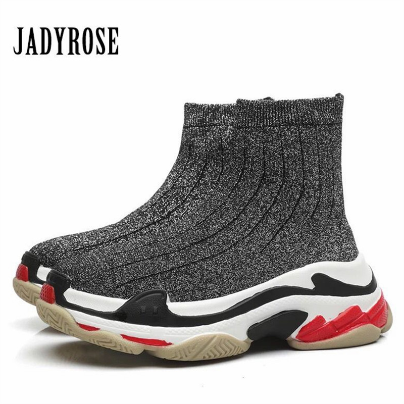 Jady Rose Women Sneakers Platform Creepers Female High Tops Casual Flat Shoes Woman Slip On Elastic Sock Boots Espadrilles