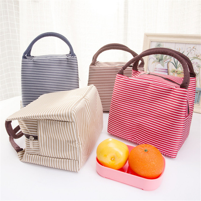 Women Portable Picnic Bag Canvas Stripe Insulated Cooler Bags Thermal Food Picnic Bags Kids Picnic Box