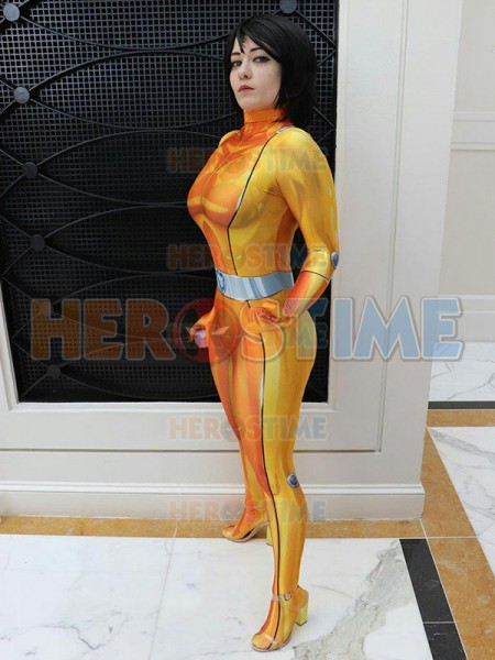 Alex Totally Spies Cosplay Costume DyeSub Printing Yellow Alex Lycra Bodysuit Zentai Halloween Party Suit