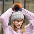 2017 colorido 13 cm pom poms bola de sombreros de piel de zorro del invierno de las mujeres tapa para la muchacha niños sombrero de lana de punto gorros cotton cap ZXM-JY-109