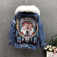 Тяжелая работа блёстки джинсовая куртка женская зимняя Толстая короткая абзац свободная меховая женская шапка датский парка из меха хлопо