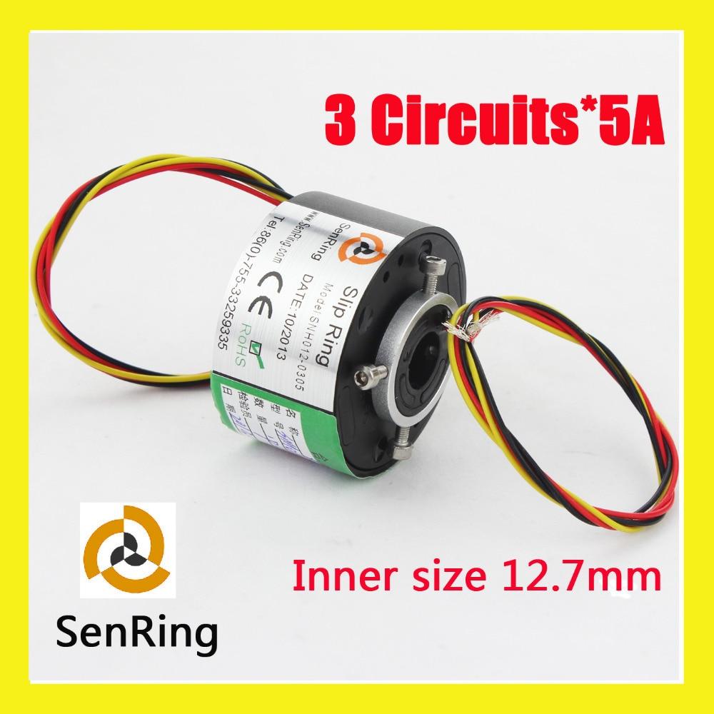 Rotating connector 3 circuits 5A of bore size 12.7mm through hole slip ring senringRotating connector 3 circuits 5A of bore size 12.7mm through hole slip ring senring