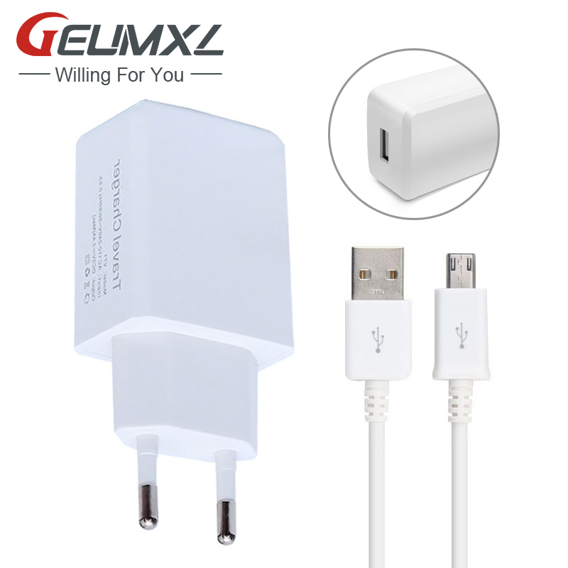 GEUMXL Original 5V 2.4A EU Plug Wall Charger Adapter Micro USB Cable For Samsung Galaxy A3 A5 S4 S3 for LG G2 G3 for Sony Z2 Z3