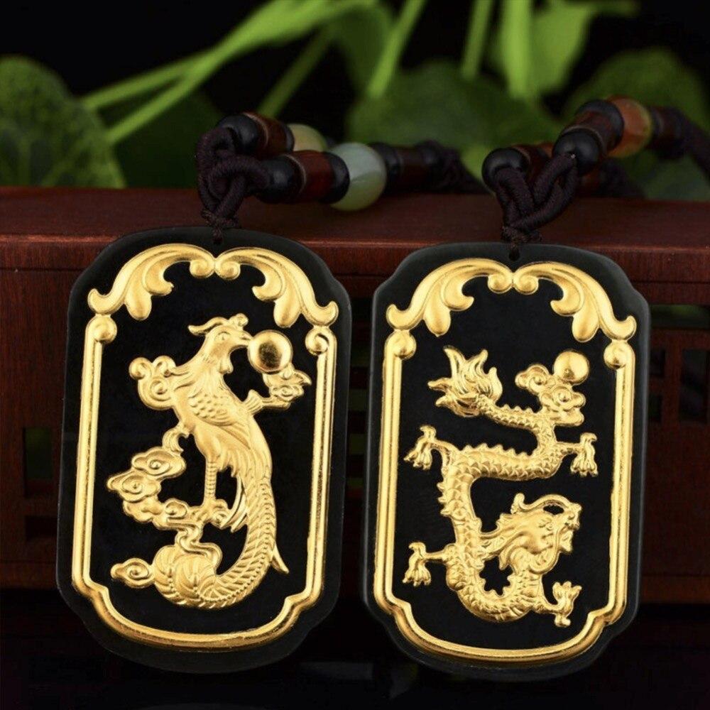 Hetian Jades bonne chance Top qualité hommes femmes colliers Hetian jades pendentif de goldes Moyu or Dragon et Phoenix pendentif