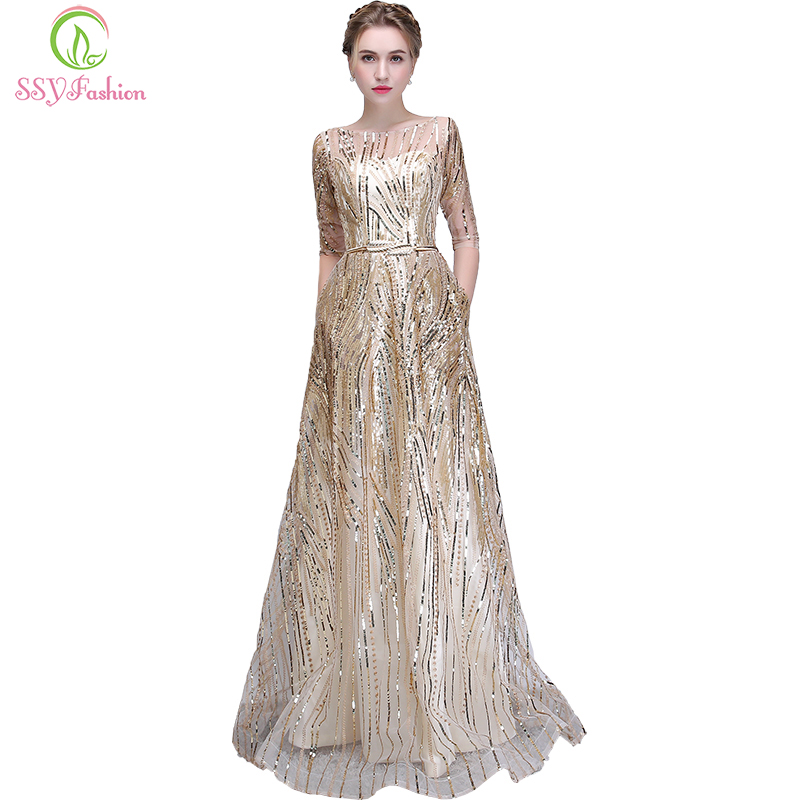 SSYFashion New The Banquet Evening Dress Simple Elegant Champagne Half Sleeved Floor-length Formal Party Gown Robe De Soiree