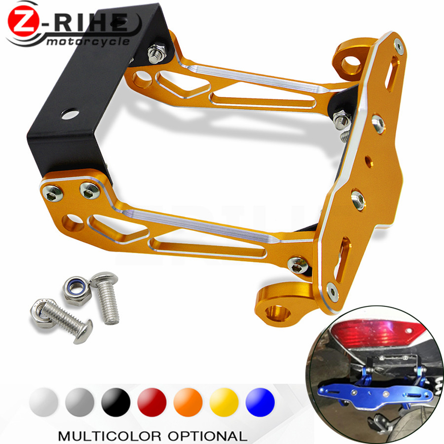 Motorbike Adjustable Angle Aluminum License Number Plate Holder Bracket universal For Suzuki GSXR1300 GSX650F GSX1250 TL1000R