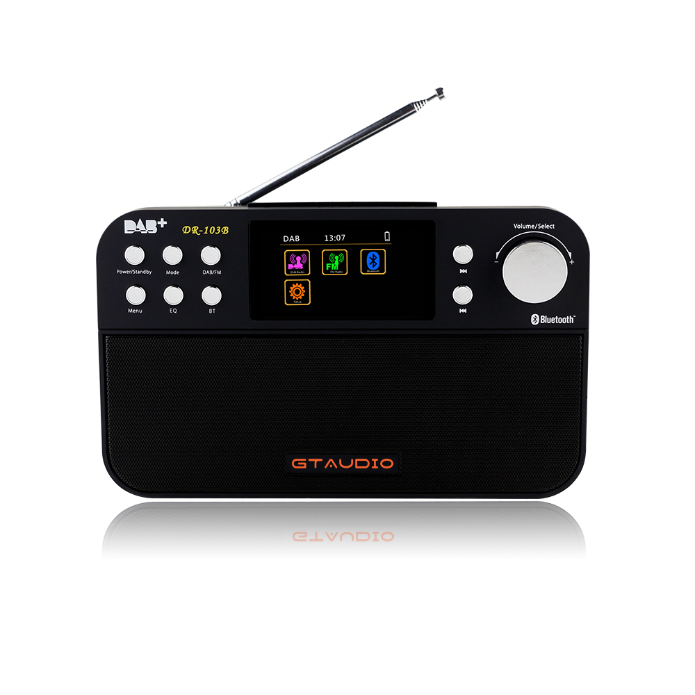 GTMEDIA DR-103B DAB Bluetooth Receiver Portable Digital DAB FM Stereo Radio Receptor With 2.4 Inch TFT Color Display Alarm Clock 5pcs pocket radio 9k portable dsp fm mw sw receiver emergency radio digital alarm clock automatic search radio station y4408