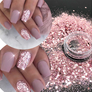 KM GLITTER Top Popular Best Sales Chunky Mixed Fairy Face Body Craft Rose Sequins Manicure Rose Gold Glitter for Nail Decoration(China)