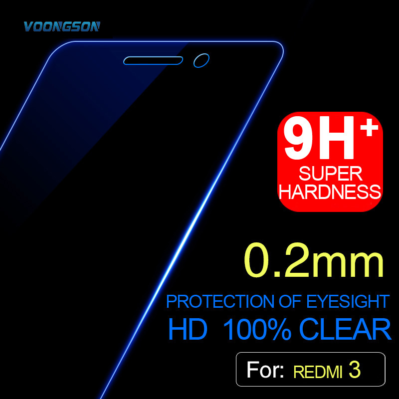 VOONGSON For Xiaomi Redmi 3 Pro Tempered Glass 3S Screen Protector Explosion Film 3s s x 5.0 Inch