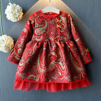 Chinese Traditional Red Princess Dresses New Arrival Children Jacquard Dress Vintage Spring Winter New Year Costumes Vestidos