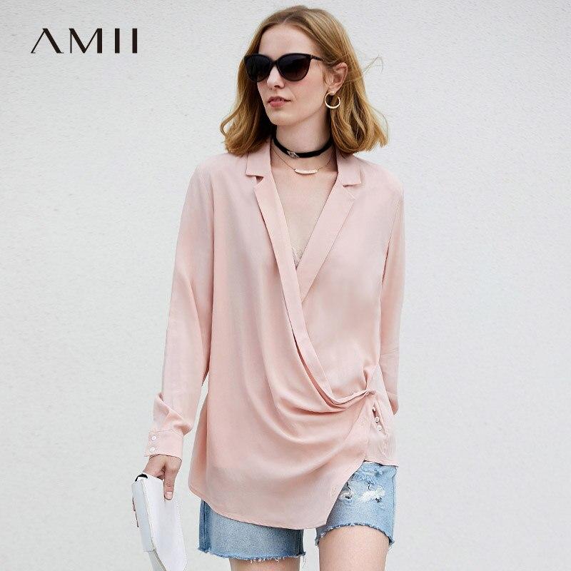 Amii מינימליסטי נשים 2018 סתיו חולצה שיק משרד ליידי V צוואר אסימטרית נקבה חולצות חולצות