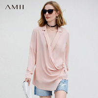 Amii Minimalist Women 2018 Autumn Blouse Chic Office Lady V Neck Asymmetric Female Blouses Shirts