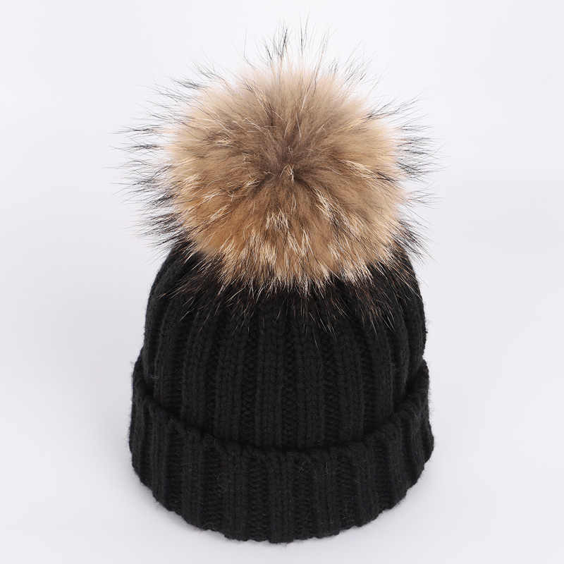 665250af7d7 ... Children s knitted cotton hats winter warm and comfortable raccoon fur  pompom solid caps scarf two- ...