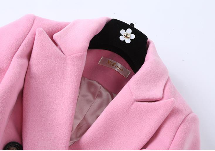 Wool Coat 2019 Winter New Pink Long Coat Women Turn down Collar Double Breasted High Quality Cashmere Coat - 3