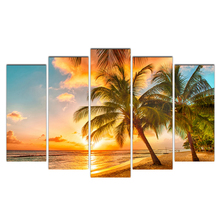 HD Printed 5 Piece Canvas Art Palm Tree&Beach Sunset Painting Modular Wall Pictures for Living Room Poster Free Shipping Abooly