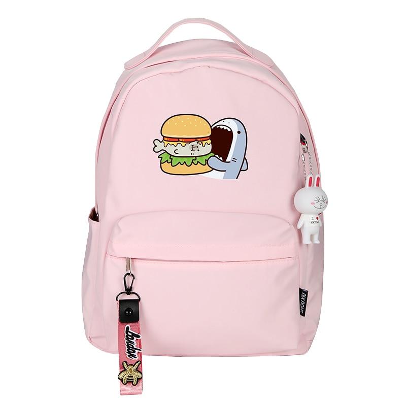 Image 5 - Women Cute Small Backpack Shark Eat Hamburg Cartoon School Bags Kawaii Dessert Travel Bagpack Pink Back Pack Cartoon BookbagBackpacks   -