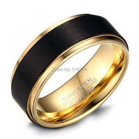 20pcs Lot 10mm 8mm 6mm Mens Black Tungsten Wedding Band Ring 18k Gold Plated With Matte