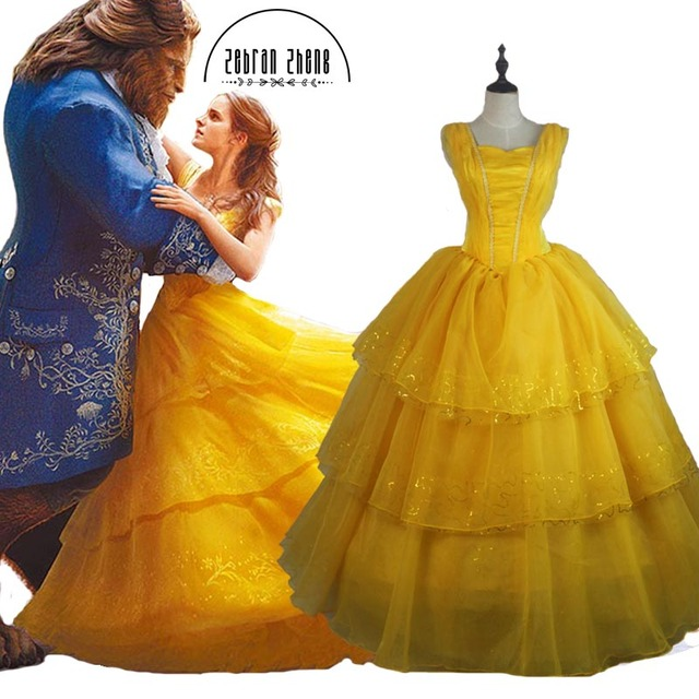 Top Quality 2018 New Arrival Moive Beauty And The Beast Belle Princess  Yellow Cosplay Costume Dress For Adults Women Custom Made 7122decf5edf