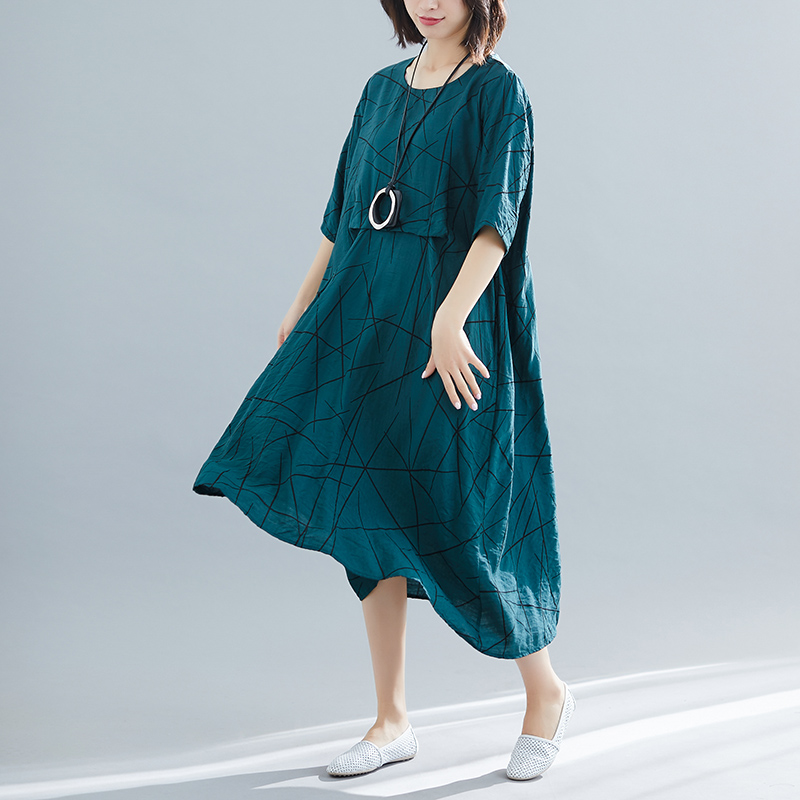 8110# Printed Linen Oversize Loose Maternity Long Dress Summer Casual Clothes for Pregnant Women Plus Size Pregnancy Clothing