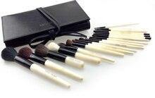 Набор кистей для макияжа Deluxe BB из 18 предметов, профессиональные классические бежевые деревянные Кисти для макияжа из натурального козьего волоса с сумкой