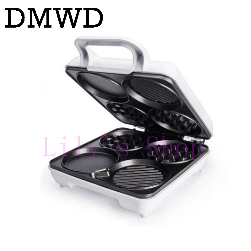 цена DMWD Electric waffle maker muffin cake Dorayaki breakfast baking machine household Fried eggs Sandwich Toaster crepe grill EU US онлайн в 2017 году