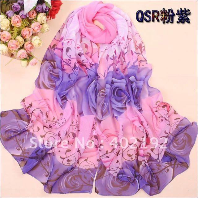 rose silk chiffon muslim long scarf summer long shawl QSR002