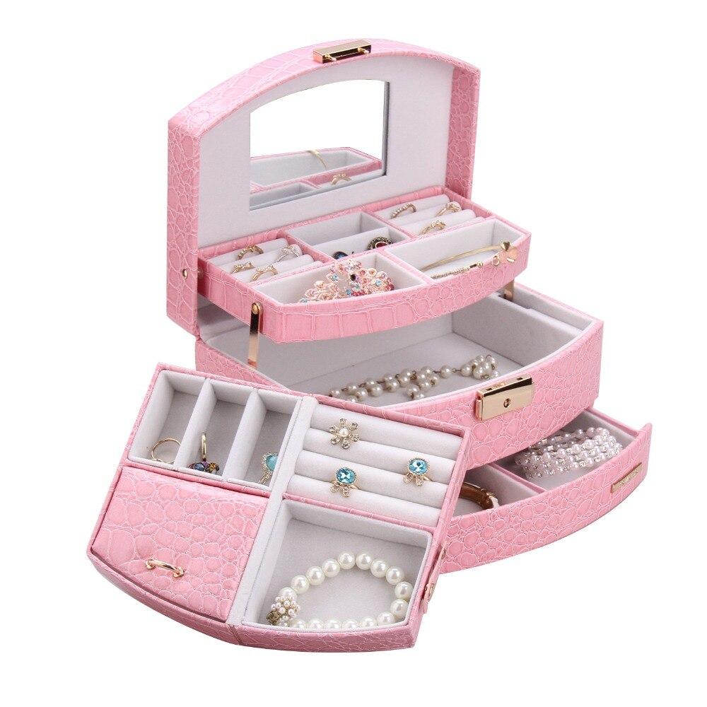 רולינג גדול תכשיטי קופסא לאחסון ורוד יום הולדת מתנות נשים ילדה תכשיט ארון מראה דמוי עור צמידי 3 שכבות Case 172