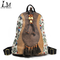 Chinese style Retro Design PU Leather Patchwork Women Backpacks Tassel Ethnic Floral Print Tibetan Travel Wood Bead Boho Bag A37
