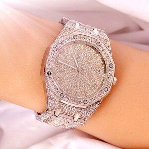 Image 1 - 2019 relógio masculino feminino pulseira de cristal ouro/prata chapeado grande dial senhores senhoras brilhando vestido quartzo relógio de pulso horas