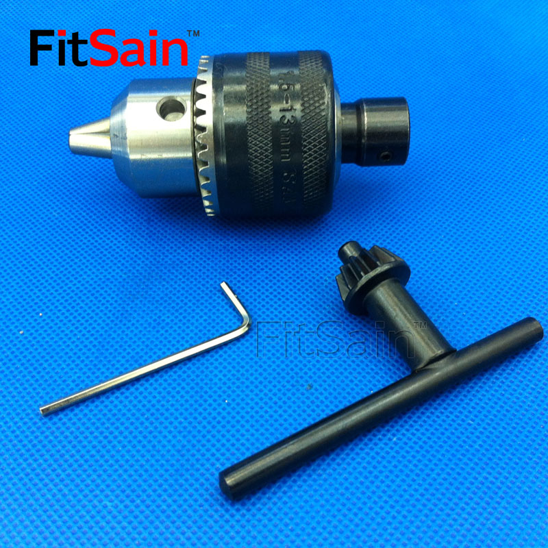 FitSain-B16 1.5-13mm mini drill chuck for motor shaft 8mm/10mm/12mm/14mm Connect Rod Power Tools Accessories drill press mini drill press applicable to motor shaft connecting rod 4 5 6 8 mm hot electric drill grinding mini drill chuck key keyless dr