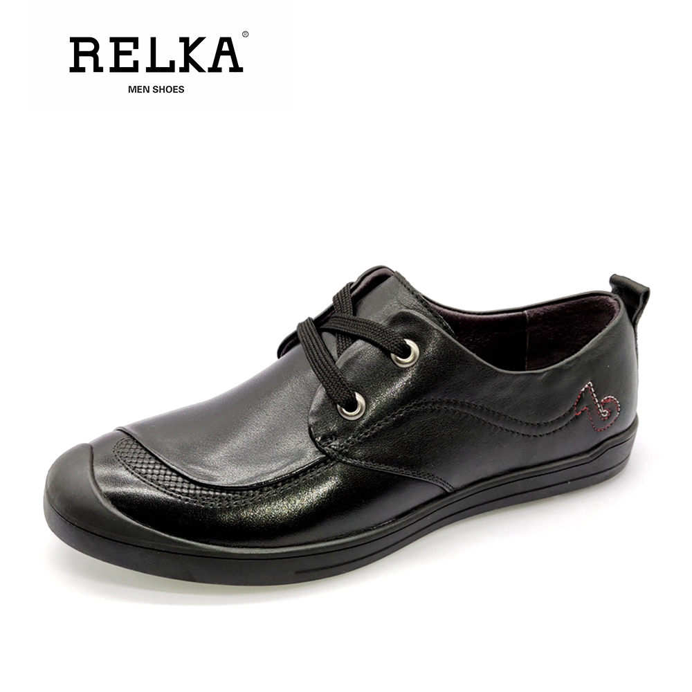 RELKA Luxury Men Casual Shoes Quality Genuine Leather Round Toe Comfortable Heel Shoes Solid Vintage Fashion