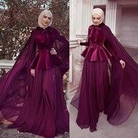 Burgundy Prom Dresses 2019 High Neck Chiffon Muslim Velvet Evening Dresses Vestidos de Festa Modest Party Dresses