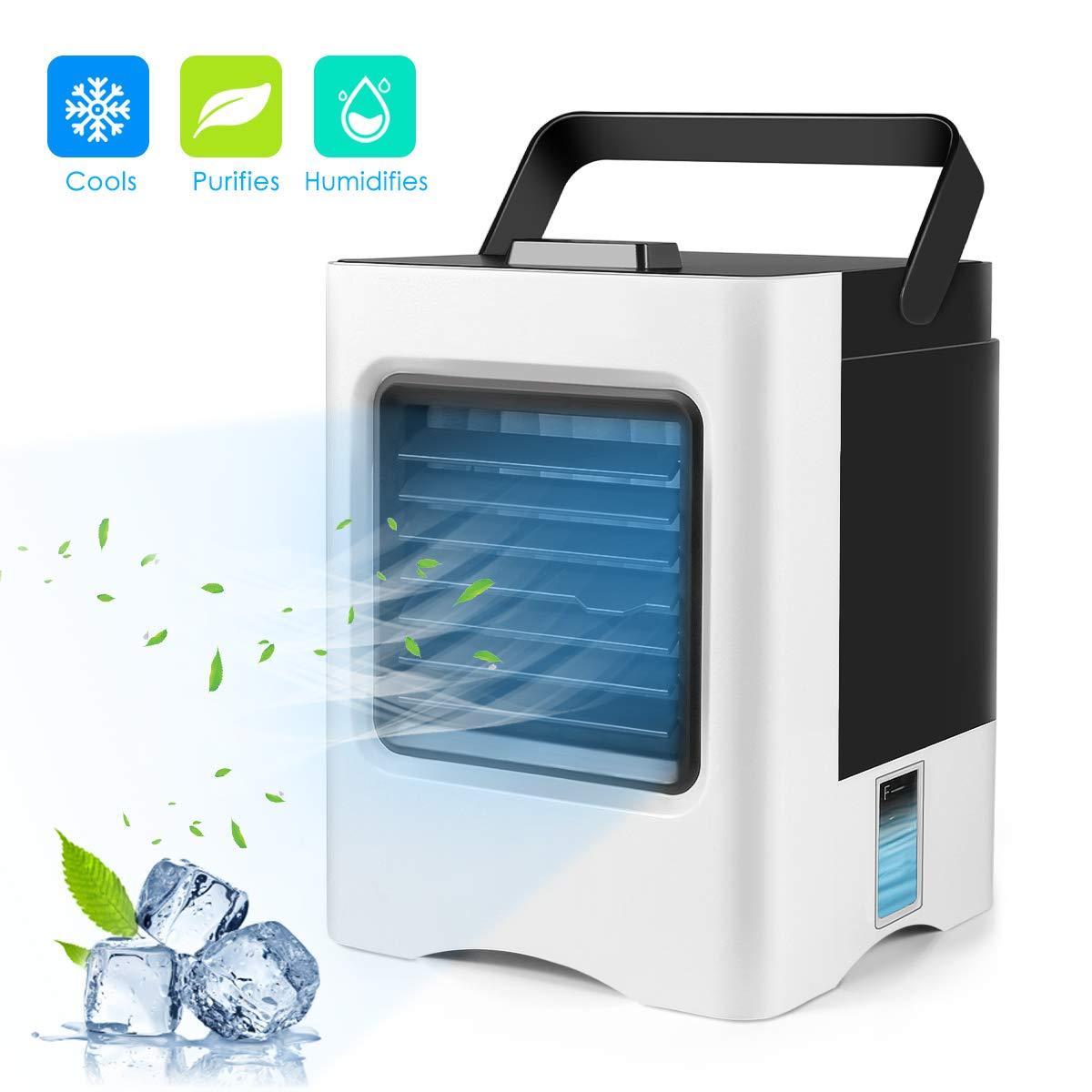 Ventilateur de climatiseur 4 en 1 refroidisseur d'air USB personnel Mini purificateur humidificateur avec lumières de LED ventilateur Rechargeable pour ventilateurs de bureau à la maison