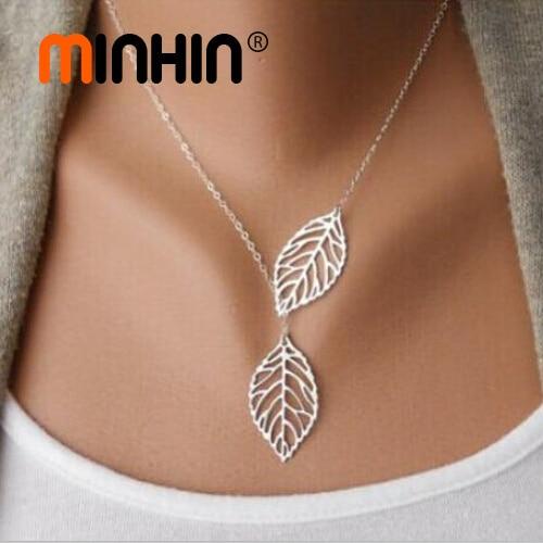 MINHIN Европейская международная торговля простое ожерелье металлические двойные листы Короткая Цепь Серебряное украшение на шею для девочки