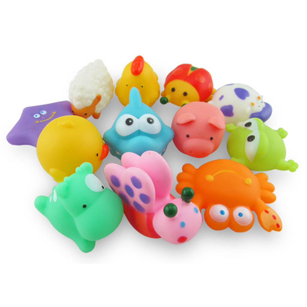 Kids Baby Bath Toy 12pcs Cute Rubber Squeaky Animal Bathing Sound Learning Educational Floating Toys for Children Boys Girl Gift