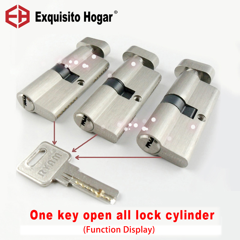 Locks Brass CylinderManagement Same Key Open All Cylinder 60 70 75 80 85 90mm  Door Hardware Security Single Interlocking