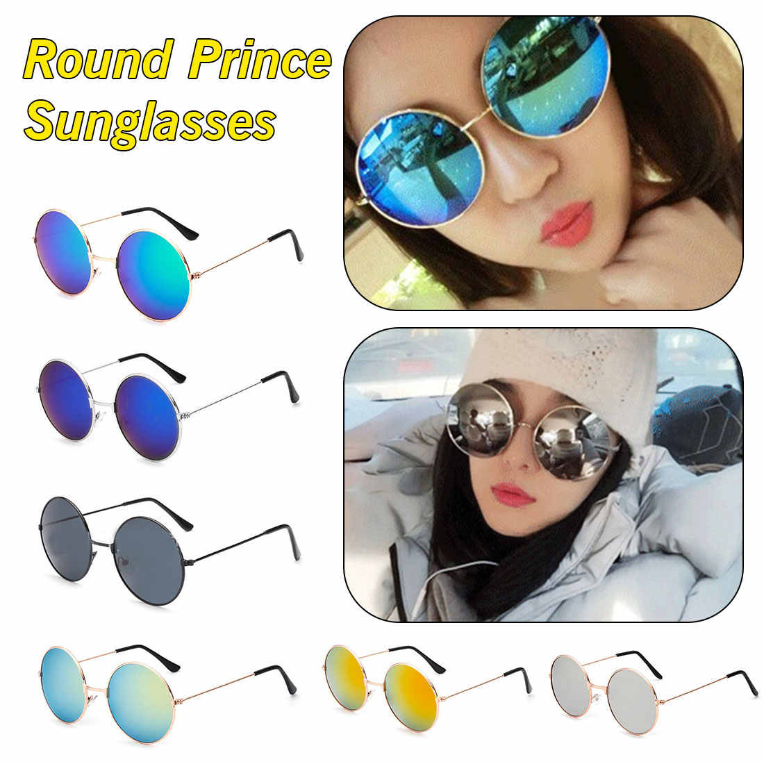 5b8d8ea1a1a5 Feminine Round Prince Sunglass New Women Men Alloy Round Sunglasses Male  Female Metal Sun Glasses Gold