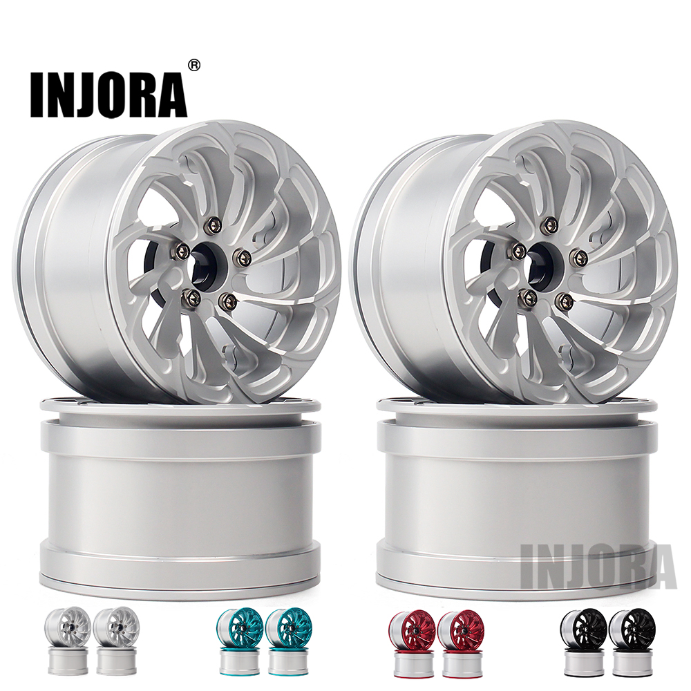 INJORA 4PCS Aluminum Alloy 2.2 Beadlock Wheel Rims For 1/10 RC Rock Crawler Axial SCX10 RR10 90053 90048 Wraith 90045 90018