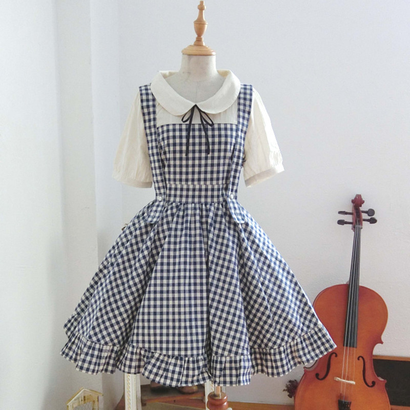 Preppy Style Peter Pan Collar Plaid Dress Mori Girl Sweet Bow Knee Length Faux Two Piece Summer Dresses Japanese Maid Clothing girl