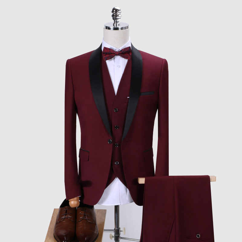 ( Jacket + Vest + Pants ) Luxury Suit Men High-end Custom Business Blazers Men's Fashion Wedding Dress Suit Three-piece