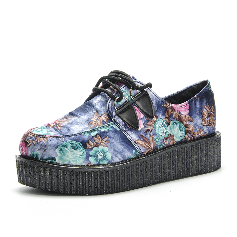Fujin Women Shoes Creepers Floral Sneaker Flower Female Flat Large-Size Moccassins Brand