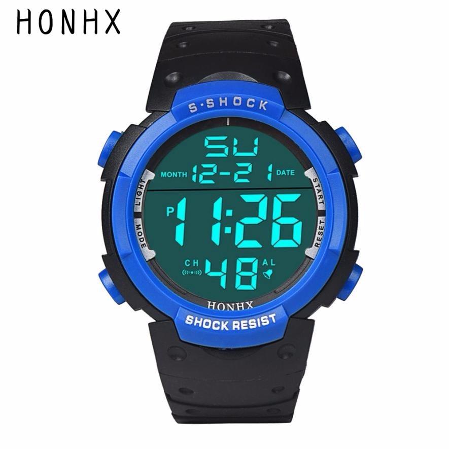 HONHX Brand Mens Digital Watches Luxury Rubber LCD Stopwatch Date Electronic Wrist Watch Men Sport Clock