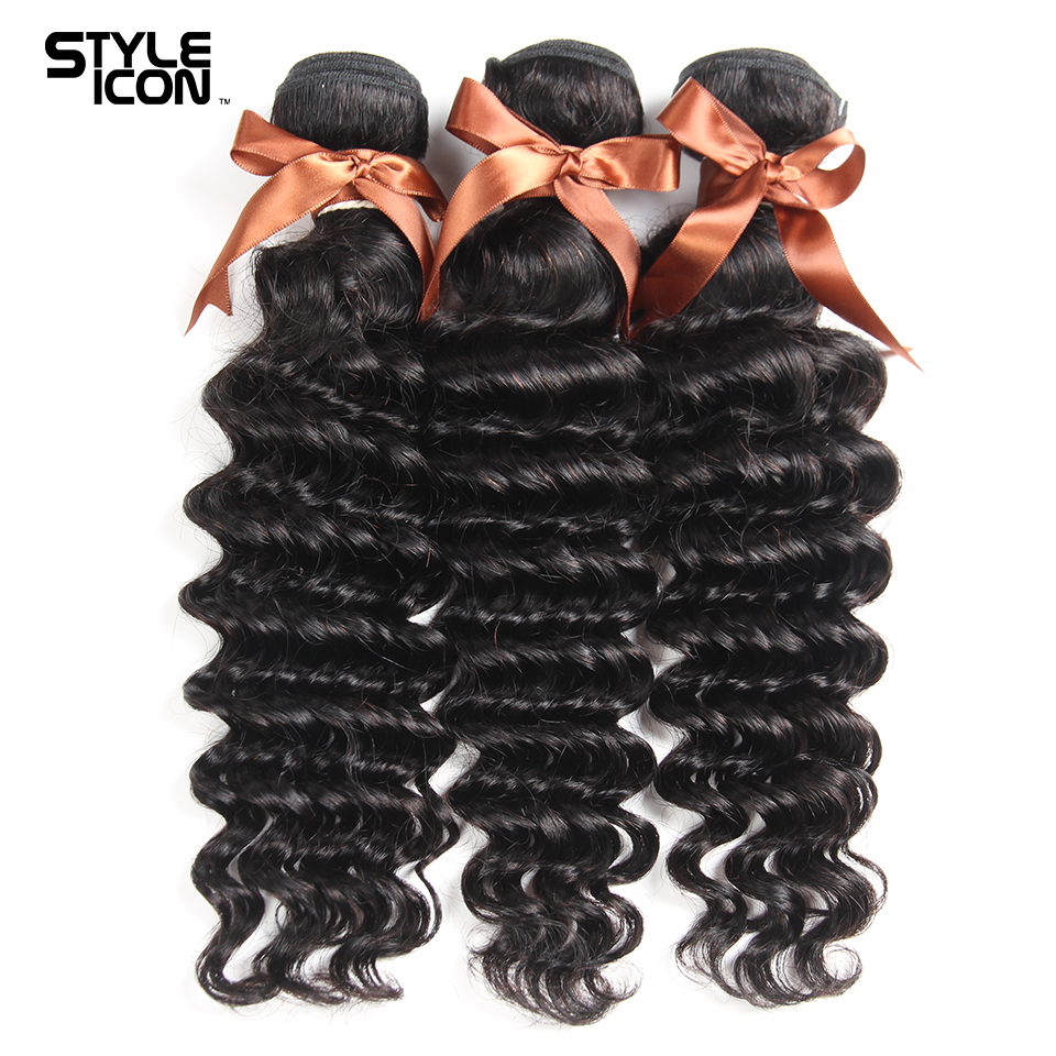 Styleicon Hair Loose Deep Wave Peruvian Human Hair Weave 3 Bundles Non Remy Hair Weaving Free Shipping