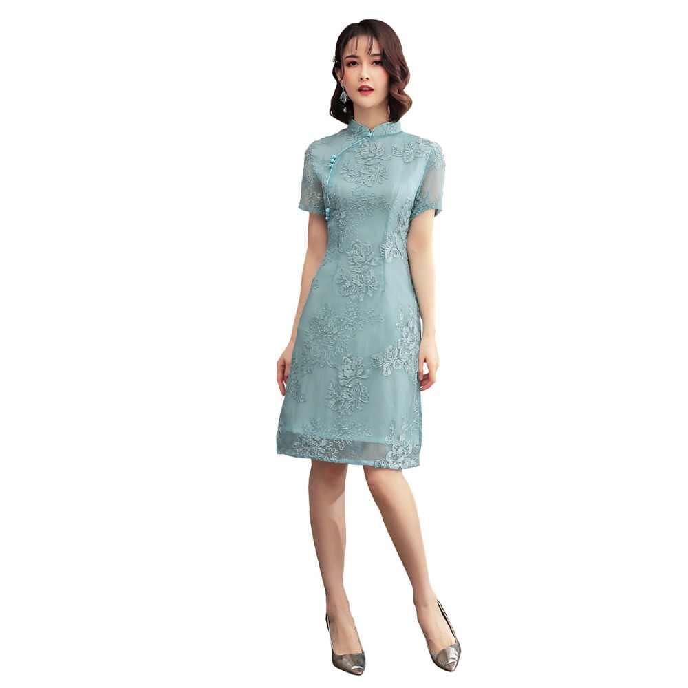 上海ストーリー 2019 中国東洋のドレス半袖花刺繍袍ドレス膝丈レースチャイナ 4 色
