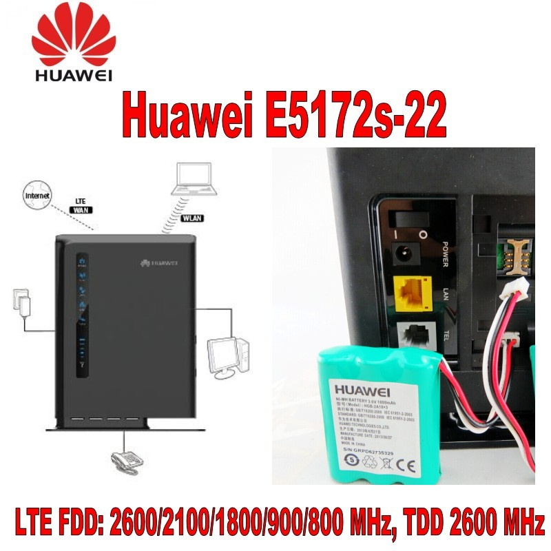 Huawei E5172s-22 4G LTE WLAN-Router 150Mbit (LTE / HSPA+) 1000mAh Battery unlocked huawei e5172s 515 lte router tdd 2300 2600mhz band including 1000mah battery