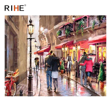 RIHE Walking Lovers Oil Painting By Numbers Street Cuadros Decoracion Acrylic Paint On Canvas For Artwork Modern Home Decor 2018