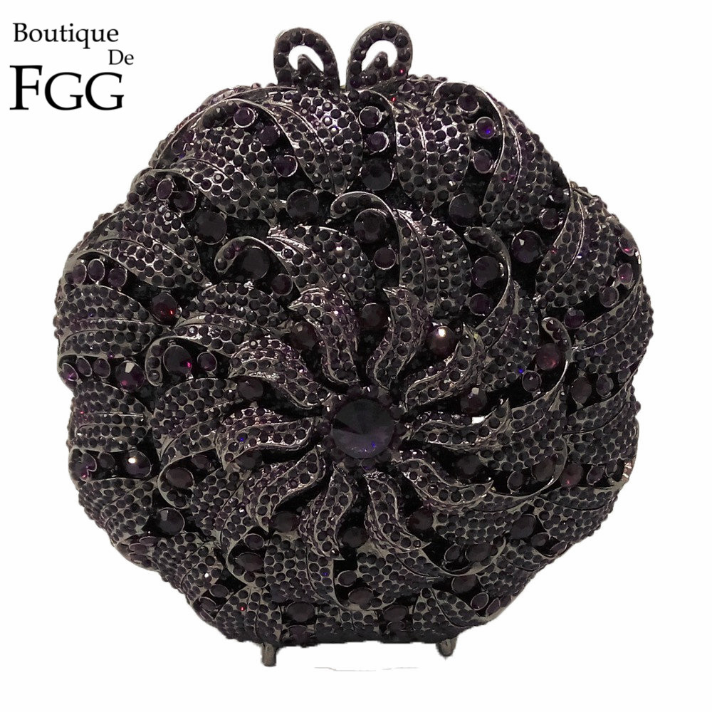 Purple Amethyst Crystal Women Flower Evening Clutches Purse Circular Metal Minaudiere Handbag Clutch Bag Wedding Bridal Bag