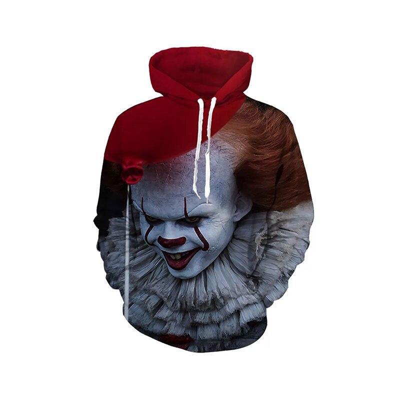 Adult Unisex Halloween Movie IT Clown Costume Devil Pennywise Face 3D Printed Sweatshirt Hoodie Terror Coat For Men Women M-4XL