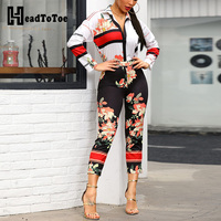 2019 New Spring Floral Sexy Jumpsuits for Women Long Sleeve Jumpsuit Casual Overalls Romper Women Monos De Mujer
