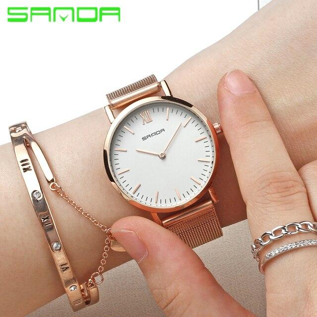 SANDA Wrist Watch for Women Luxury Brand Quartz Wrist watches Ladies Stainless S
